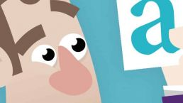 cartoon van een mannetje die naar een kaart met een serif-lettertype