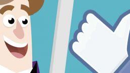 uitsnede van een cartoon over een profielfoto op social media