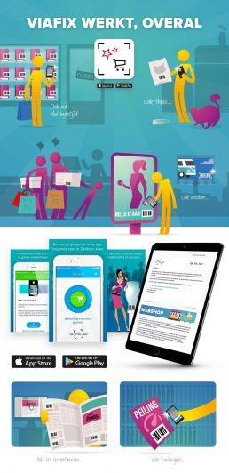 illustratie en cartoon in huisstijl ontwerp viafix app